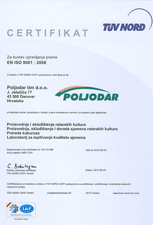 Certifikat ISO ISO 9001:2008