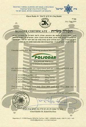 Kosher certifikat